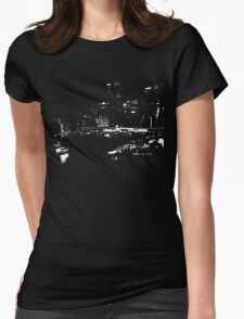 Circular Quay City Skyline White Silhouette Womens Fitted T-Shirt