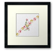 Vintage elegant pink yellow summer flowers pattern  Framed Print