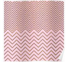 Pink white gold glitter effect chevron pattern  Poster