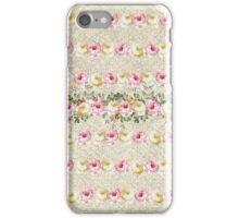 Vintage green pink yellow jute floral pattern  iPhone Case/Skin