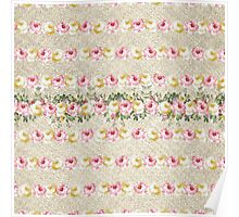 Vintage green pink yellow jute floral pattern  Poster