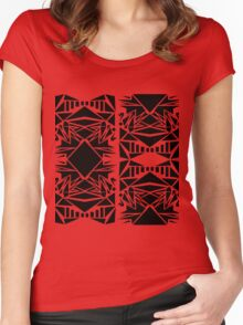 Geometric vector abstraction in red and black Women's Fitted Scoop T-Shirt