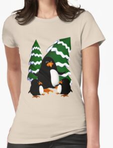 Happy Penguin Family Womens Fitted T-Shirt