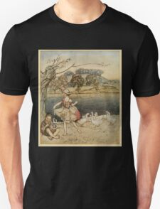 English Fairy Tales by Flora Annie Webster Steel art Arthur Rackham 1922 0081 Tattercoats Dancing While Pighead Pipes Unisex T-Shirt
