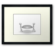 two people holding a tray Framed Print