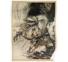Siegfried & The Twilight of the Gods by Richard Wagner art Arthur Rackham 1911 0105 Siegfried Kills Fafner Poster