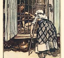 Hansel & Grethel & Other Tales by Grimm Wilelm and Jacob art by Arthur Rackham 0031 Hansel Put Out a Knuckle Bone by wetdryvac