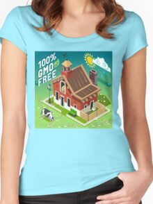 Isometric GMO Free Farming Women's Fitted Scoop T-Shirt
