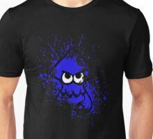 Splatoon Black Squid with Blank Eyes on Blue Splatter Mask Unisex T-Shirt