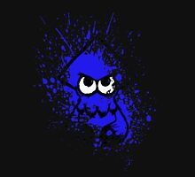 Splatoon Black Squid with Blank Eyes on Blue Splatter Mask Unisex T-Shirt