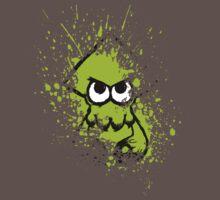 Splatoon Black Squid with Blank Eyes on Green Splatter Mask Kids Clothes
