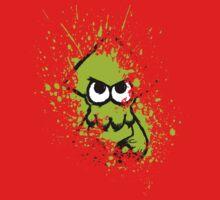 Splatoon Black Squid with Blank Eyes on Green Splatter Mask One Piece - Short Sleeve