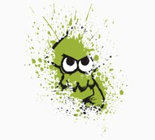 Splatoon Black Squid with Blank Eyes on Green Splatter Mask Kids Clothes