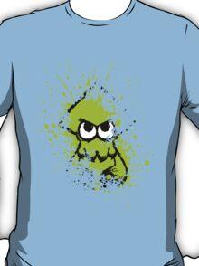 Splatoon Black Squid with Blank Eyes on Green Splatter Mask T-Shirt