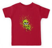 Splatoon Black Squid with Blank Eyes on Green Splatter Mask Kids Tee