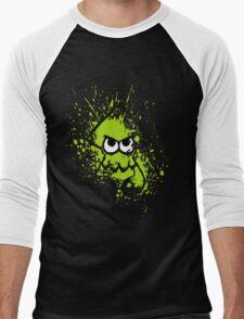 Splatoon Black Squid with Blank Eyes on Green Splatter Mask Men's Baseball ¾ T-Shirt