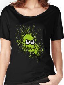 Splatoon Black Squid with Blank Eyes on Green Splatter Mask Women's Relaxed Fit T-Shirt