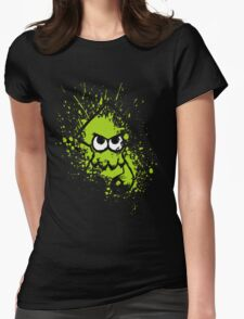 Splatoon Black Squid with Blank Eyes on Green Splatter Mask Womens Fitted T-Shirt