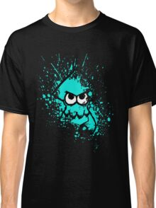 Splatoon Black Squid with Blank Eyes on Cyan Splatter Mask Classic T-Shirt