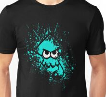 Splatoon Black Squid with Blank Eyes on Cyan Splatter Mask Unisex T-Shirt