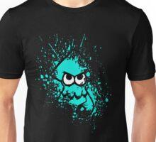 Splatoon Black Squid with Blank Eyes on Cyan Splatter Mask Unisex T-Shirt