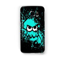 Splatoon Black Squid with Blank Eyes on Cyan Splatter Mask Samsung Galaxy Case/Skin