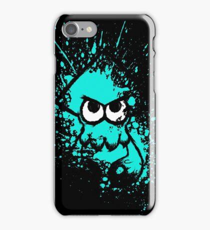 Splatoon Black Squid with Blank Eyes on Cyan Splatter Mask iPhone Case/Skin