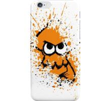 Splatoon Black Squid with Blank Eyes on Orange Splatter Mask White Version iPhone Case/Skin