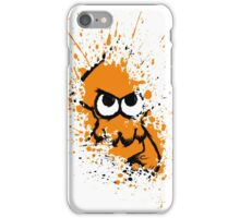 Splatoon Black Squid with Blank Eyes on Orange Splatter Mask White Version iPhone Case/Skin