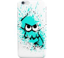 Splatoon Black Squid with Blank Eyes on Cyan Splatter Mask White Version iPhone Case/Skin