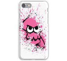 Splatoon Black Squid with Blank Eyes on Pink Splatter Mask White Version iPhone Case/Skin