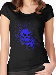 Splatoon Black Squid on Blue Splatter Mask Women's Fitted Scoop T-Shirt