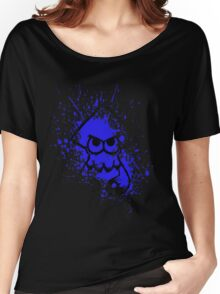 Splatoon Black Squid on Blue Splatter Mask Women's Relaxed Fit T-Shirt