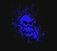 Splatoon Black Squid on Blue Splatter Mask Unisex T-Shirt