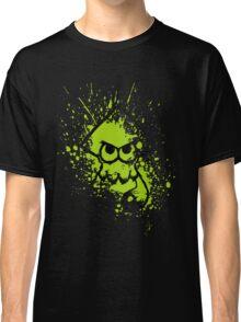 Splatoon Black Squid on Green Splatter Mask Classic T-Shirt