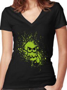 Splatoon Black Squid on Green Splatter Mask Women's Fitted V-Neck T-Shirt