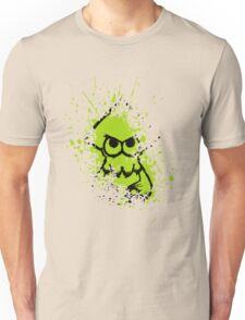 Splatoon Black Squid on Green Splatter Mask Unisex T-Shirt