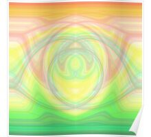 Hypno Rose-Yellow-Green Curves Poster