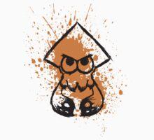 Splatoon Black Squid on Orange Splatter Kids Tee
