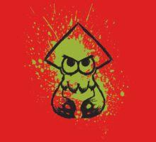 Splatoon Black Squid on Green Splatter Baby Tee