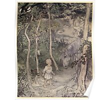 Irish Fairy Tales by James Stephans art by Arthur Rackham 1920 0069 Staring at the Horse Poster