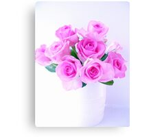 pink roses painting Canvas Print