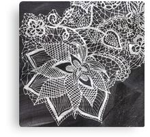 White hand drawn floral lace black chalkboard  Canvas Print