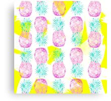 Tropical pink mint green yellow pineapples pattern Canvas Print