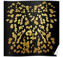 Paint Splatter in Faux Gold and Black Poster