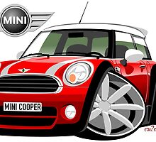 Mini Cooper BMW caricature red by car2oonz