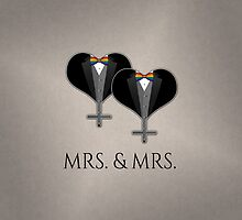 Mrs. Tuxedo Hearts Bow Tie by LiveLoudGraphic