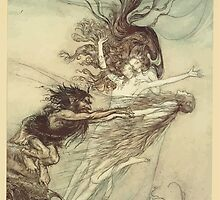 The Rhinegold & The Valkyrie by Richard Wagner art Arthur Rackham 1910 0037 The Frolic of the Rhine Maidens by wetdryvac