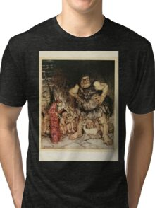 English Fairy Tales by Flora Annie Webster Steel art Arthur Rackham 1922 0137 The Giant Galligantua and the Wicked Magician Tri-blend T-Shirt