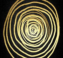 Painted Spiral Swirl in Faux Sparkly Gold on Black by Blkstrawberry
